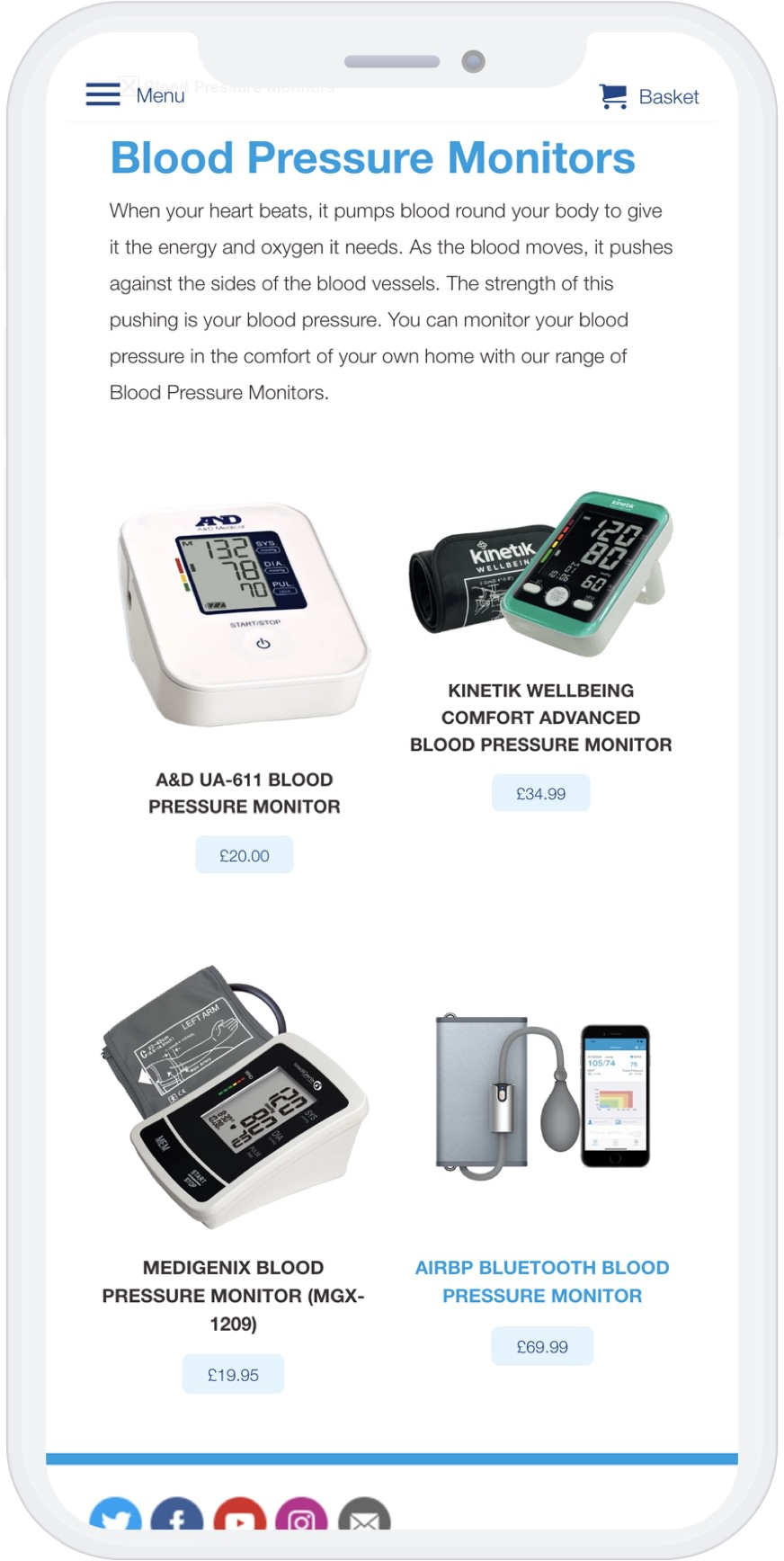 Mobile view of blood presure monitor collection
