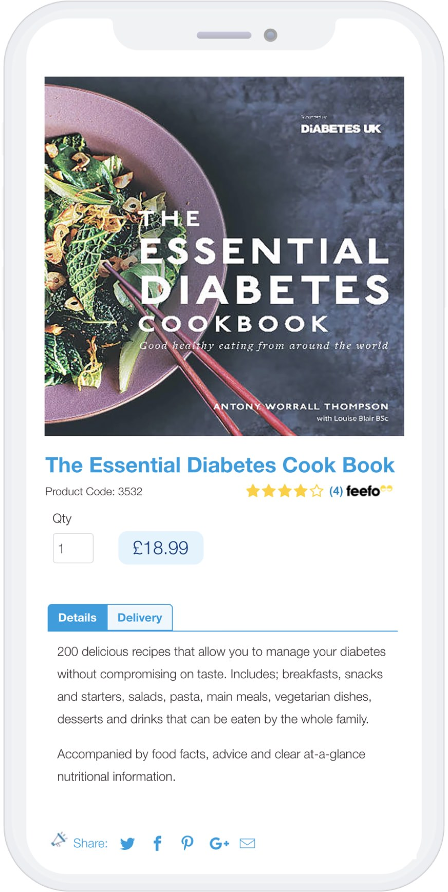Mobile view of Diabetes UK product page