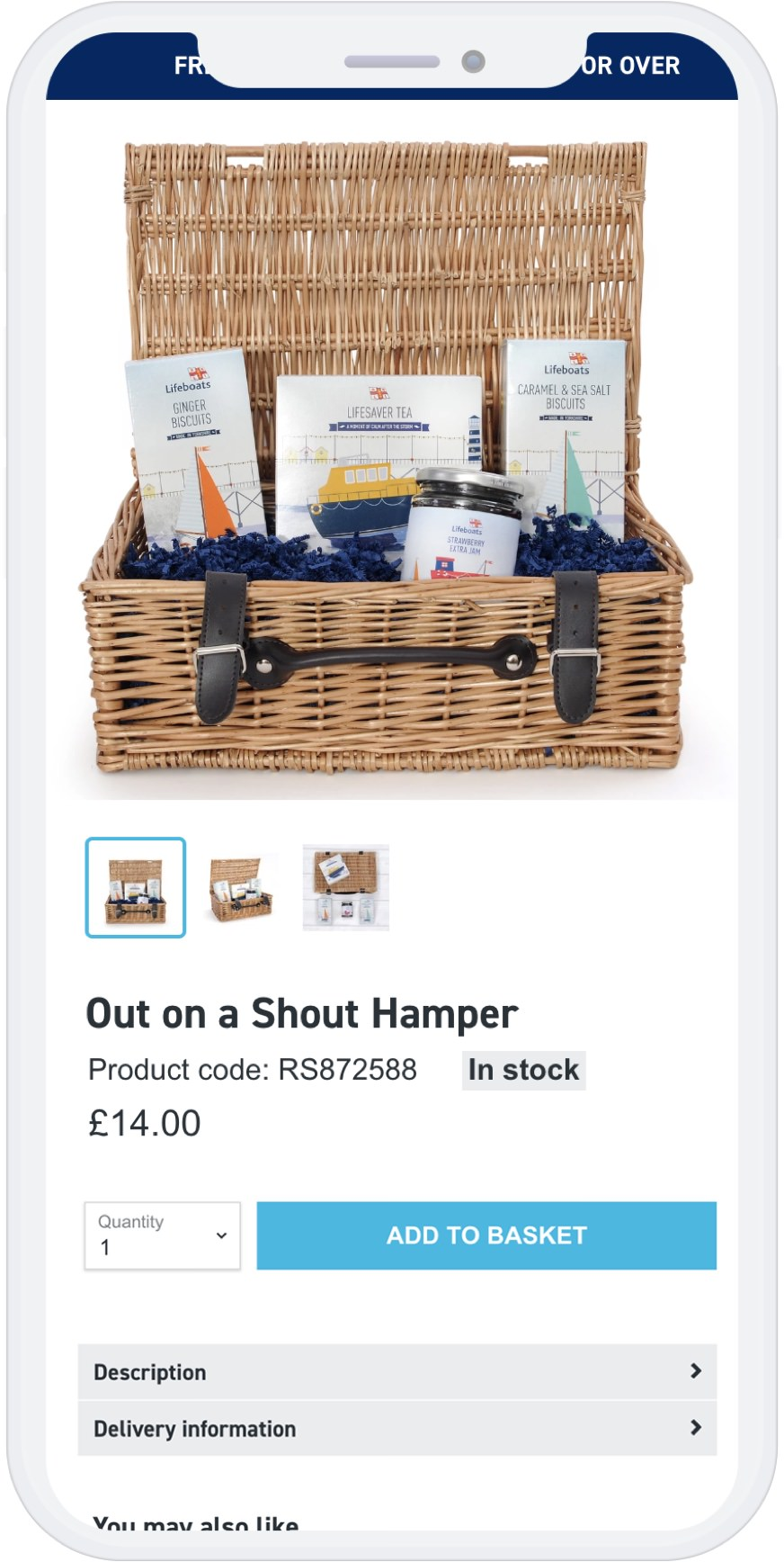 Mobile view Hamper Product page