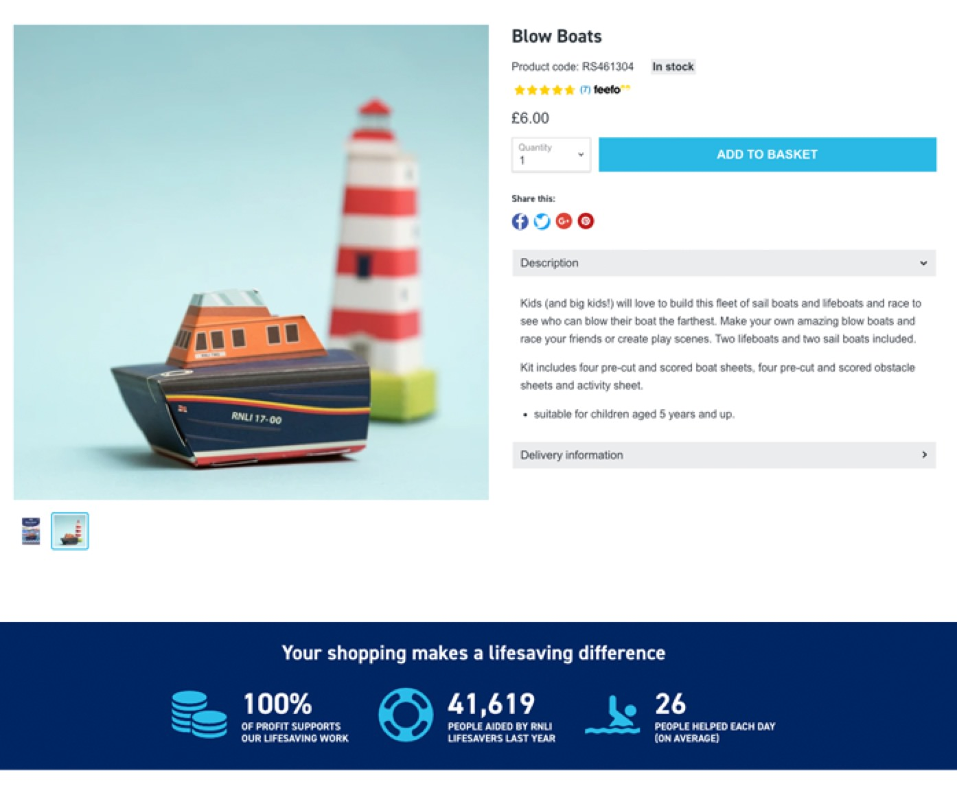 RNLI product page of a Blow Boat