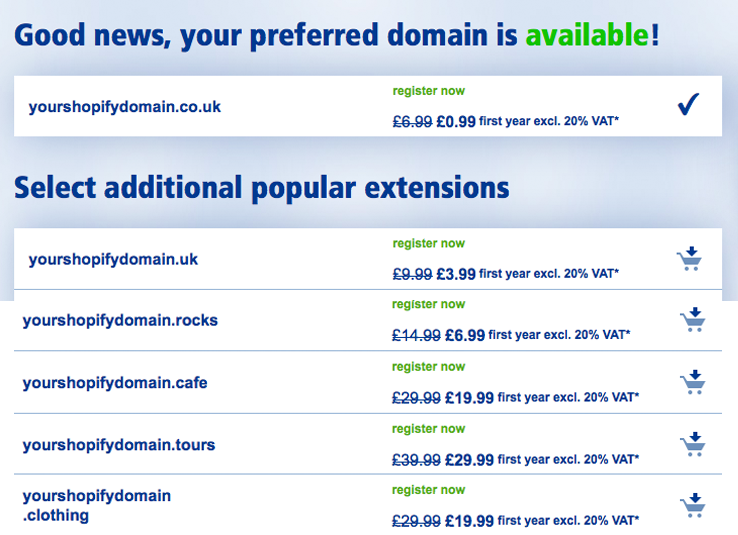 domain results